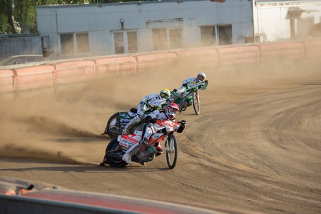 Polonia: DAUGAVPILS, LATVIA - May 22, 2016: Speedway riders on the track in match of polish NICE league Lokomotiv - Wlo?kniarz Cze?stochowa 51:39