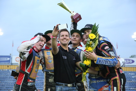 incidence: DAUGAVPILS, LATVIA - July 17, 2016. Winner of race - Denmark team. Semifinal of Team Speedway Junior European Championship. participants - Latvia, Denmark, Czech, Norway. Editorial