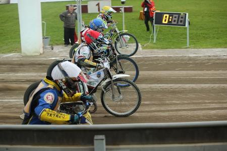 Polonia: DAUGAVPILS, LATVIA - July 17, 2016. Speedway riders on the track. Semifinal of Team Speedway Junior European Championship. participants - Latvia, Denmark, Czech, Norway.