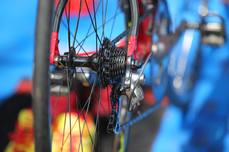 rear wheel: view of bicycle gears mechanism on the rear wheel Stock Photo