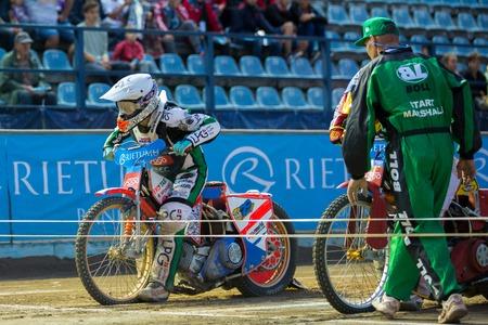 DAUGAVPILS, LATVIA - August 6, 2016: second round of Euro Speedway Championship. Andzejs Lebedevs on the start Editorial