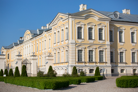 rundale: Pilsrundale, LATVIA - May 21, 2016. Rundale palace, summer Residence of the Duke of Courland Ernst Johann Biron. It was built in 1740. Architect: Francesco Bartolomeo Rastrelli.