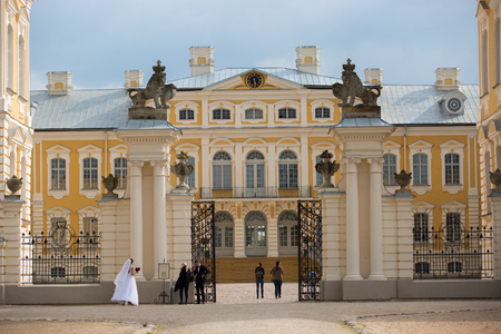 bartolomeo rastrelli: Pilsrundale, LATVIA - May 21, 2016. Rundale palace, summer Residence of the Duke of Courland Ernst Johann Biron. It was built in 1740. Architect: Francesco Bartolomeo Rastrelli.
