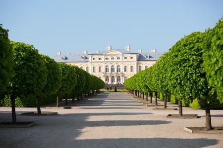 rundale: Pilsrundale, LATVIA - May 21, 2016. Rundale palace, summer Residence of the Duke of Courland Ernst Johann Biron. It was built in 1740. Architect: Francesco Bartolomeo Rastrelli.