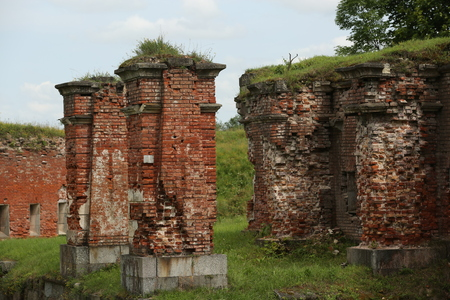 Buildings of 19th century from red brick. Daugavpils fortress
