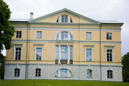 classicism: BAUSKA, LATVIA - May 20, 2016. The Mezotne Palace - The Pearl of The Latvian Classicism