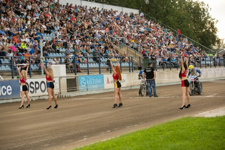 episode: DAUGAVPILS, LATVIA - August 21, 2016: Episode from match of polish NICE league Lokomotiv - Wanda Instal Krakow 54:35. Girls on the track