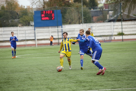 DAUGAVPILS, LATVIA - October 16, 2016: game episode in a football match with contact. Latvian championship, high league. BFC Daugavpils - FC Ventspils 0:4 Editorial