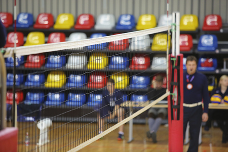 sport hall: Volleyball net in the sport hall prepare for match Stock Photo