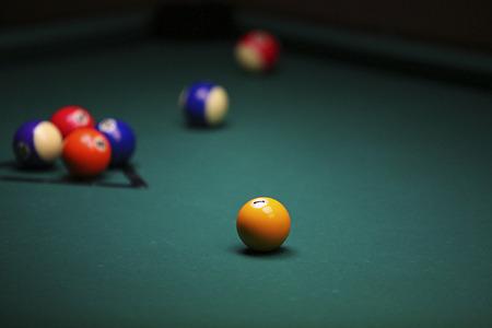 Billiard. Pool balls on green pool table