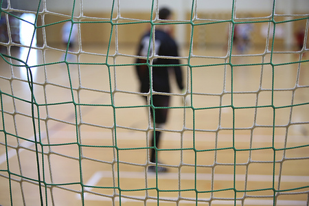 The background of futsal goalkeeper with front of gates net