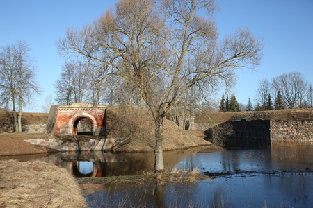 moat wall: Dawns of the Daugavpils fortress during the spring high water