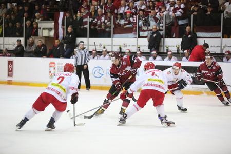 DAUGAVPILS, LATVIA - April 8, 2017: Ice Hockey Challenge Latvia - Belorussia 3:0. The game moment of a hockey game