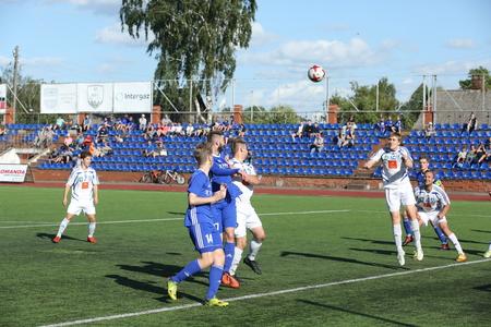 DAUGAVPILS, LATVIA -Fugust 5, 2017: Episode of football match in Daugavpils. Latvian championship 1 league. BFC Daugavpils - Staicele6:0