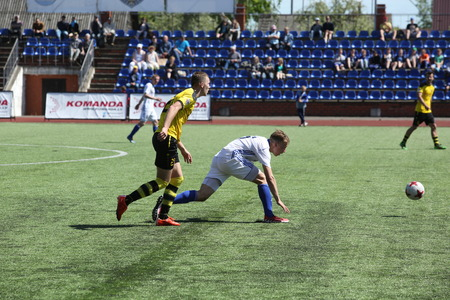 DAUGAVPILS, LATVIA -May 27, 2017: Episode of football match in Daugavpils. Latvian championship 1 league. BFC Daugavpils - Progres 1:2