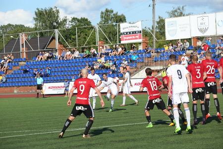 DAUGAVPILS, LATVIA -July 10, 2017: Episode of football match in Daugavpils. Latvian Cup. BFC Daugavpils - Liepaja 0:1 Editorial