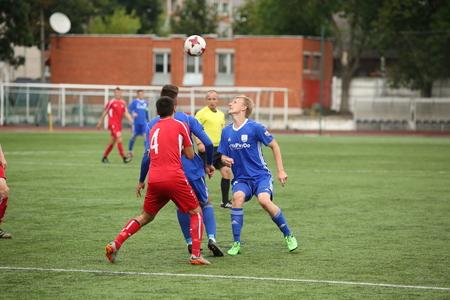 DAUGAVPILS, LATVIA -July 27, 2017: Episode of football match in Daugavpils. Latvian championship 1 league. BFC Daugavpils - Skonto 7:1 Editorial