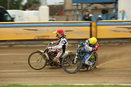 DAUGAVPILS, LATVIA -August 20, 2017: Speedway riders on the track. Race ofPolish NICE league. First semifinal Lokomotiv - Gdansk 46:44