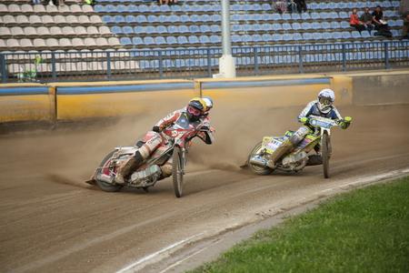 DAUGAVPILS, LATVIA -August 26, 2017: European U21 Individual Speedway Championship Final. Speedway riders on the track. Editorial