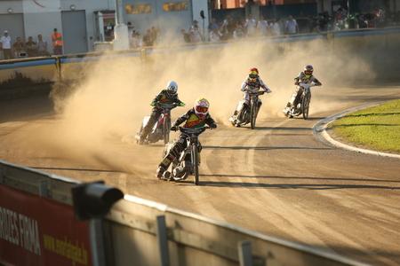 pila: DAUGAVPILS, LATVIA -June 17, 2017: Speedway riders on the track in match of polish NICE league Lokomotiv - Pila