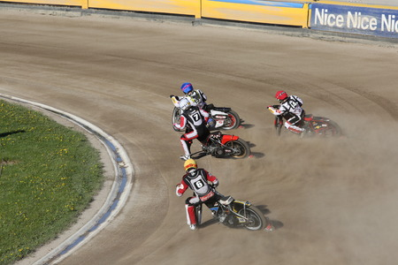 DAUGAVPILS, LATVIA -May 21, 2017: Speedway riders on the track in match of polish NICE league Lokomotiv - Pila