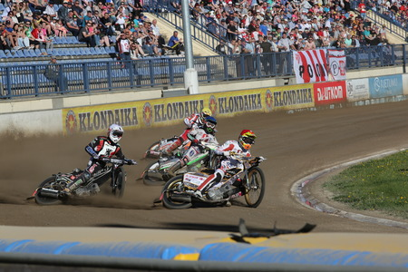 pila: DAUGAVPILS, LATVIA -May 21, 2017: Speedway riders on the track in match of polish NICE league Lokomotiv - Pila
