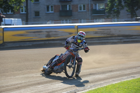 DAUGAVPILS, LATVIA -September 24, 2017: Speedway riders on the track. Open individual Latvian championship 2017 Editorial