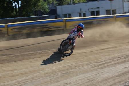 DAUGAVPILS, LATVIA -September 24, 2017: Speedway riders on the track. Open individual Latvian championship 2017 Redakční