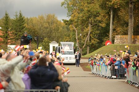24.09.2018. AGLONA, LATVIA. His Holiness Pope Francis driving at Pope Mobile, before Holy Mass at Aglona Basilica Stock fotó - 140844666