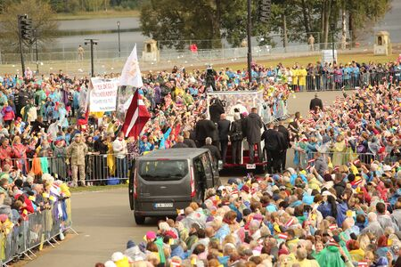 24.09.2018. AGLONA, LATVIA. His Holiness Pope Francis driving at Pope Mobile, before Holy Mass at Aglona Basilica