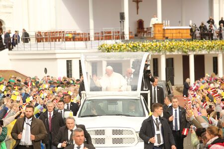 24.09.2018. AGLONA, LATVIA. His Holiness Pope Francis driving at Pope Mobile, before Holy Mass at Aglona Basilica Stock fotó - 140910589