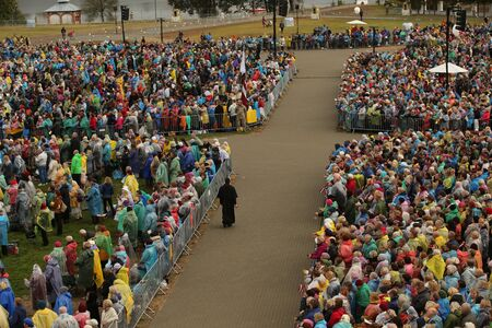 24.09.2018. AGLONA, LATVIA. His Holiness Pope Francis visit Aglona. People wait Pope Francis Stock fotó - 140844655