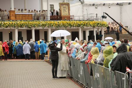 24.09.2018. AGLONA, LATVIA. His Holiness Pope Francis visit Aglona. People wait Pope Francis Stock fotó - 140910594