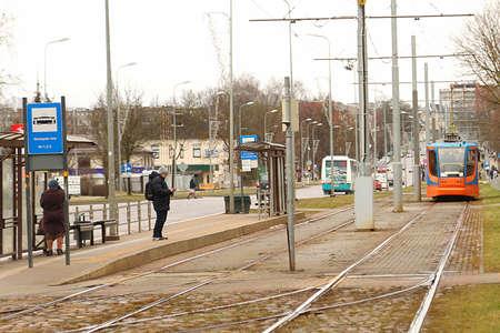 DAUGAVPILS, LATVIA - February 12, 2020: Tram car in Daugavpils Editorial