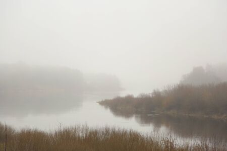 View on the river. Landscape at winter without snow Standard-Bild