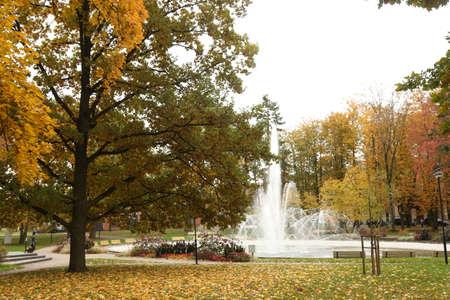 DAUGAVPILS, LATVIA - October 4, 2019 Dubrovinsky park in center of Daugavpils