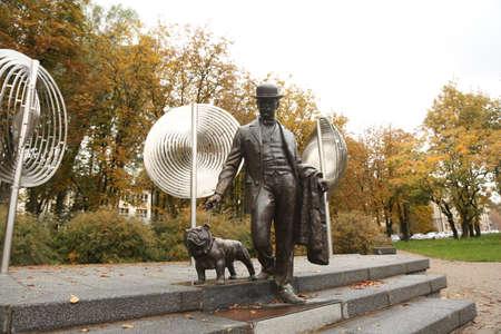 DAUGAVPILS, LATVIA - October 4, 2019 Dubrovinsky park in center of Daugavpils. Monument of major Daugavpils in 19th century Pavel Dubrovin Editorial