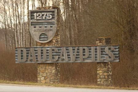 DAUGAVPILS, LATVIA - March 1, 2020 Sign at the entrance to the city Daugavpils