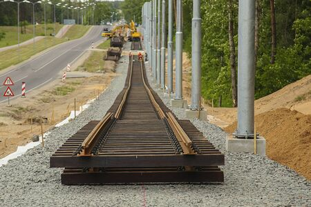 New tramway track construction. Rail installation