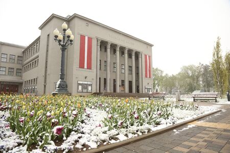 DAUGAVPILS, LATVIA - MAY 12, 2020: Snowy day in May in Daugavpils (Latvia)
