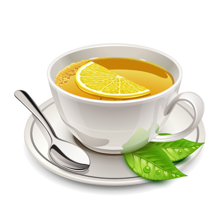 cup of tea with lemon Vector