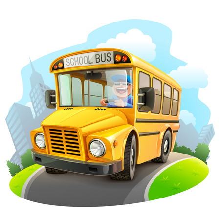 back icon: Funny school bus illustration