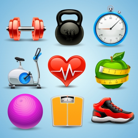 healthy exercise: fitness icon set