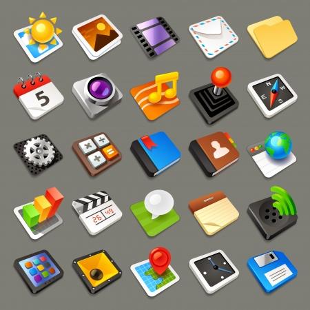 Multimedia icons set Illustration