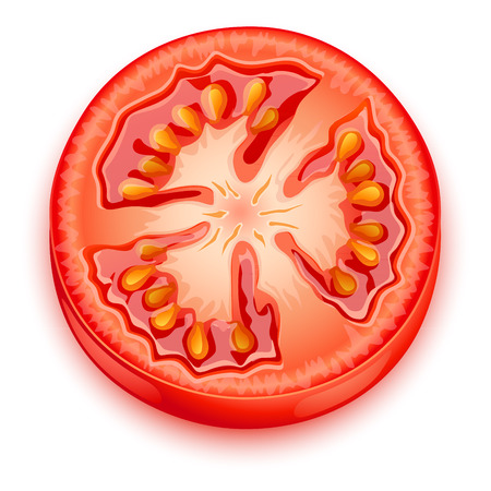 tomato slice: a slice of tomato Illustration
