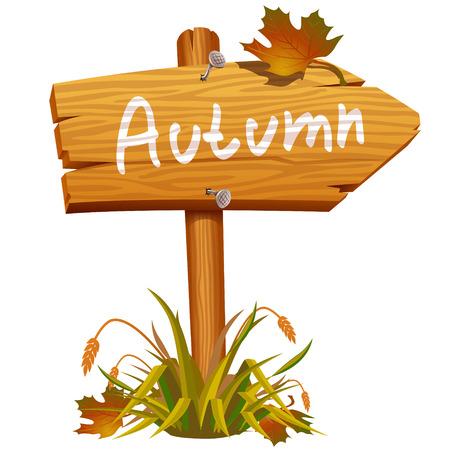autumn wooden arrow board Illustration