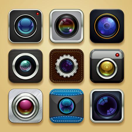 achtergrond voor de app - camera icon set Stock Illustratie