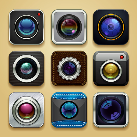 background for the app - camera icon set Vectores