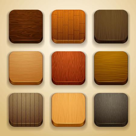 houten achtergrond voor de app iconen Stock Illustratie