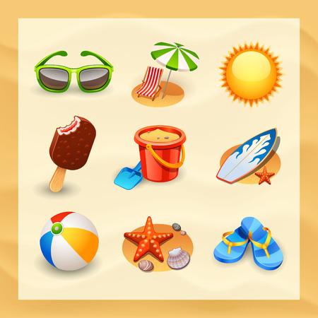 vacaciones en la playa: conjunto de icono de playa Vectores